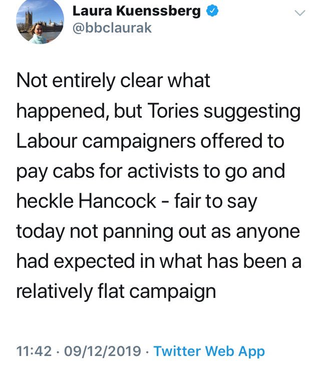 Here are the tweets from @PaulBrandITV @Peston and @bbclaurak , who without a shred of evidence tweeted people that @UKLabour taxied in 100 activists who attacked an advisor of @MattHancock . Video evidence shows five people one with a bike and no punch. You three are a disgrace.