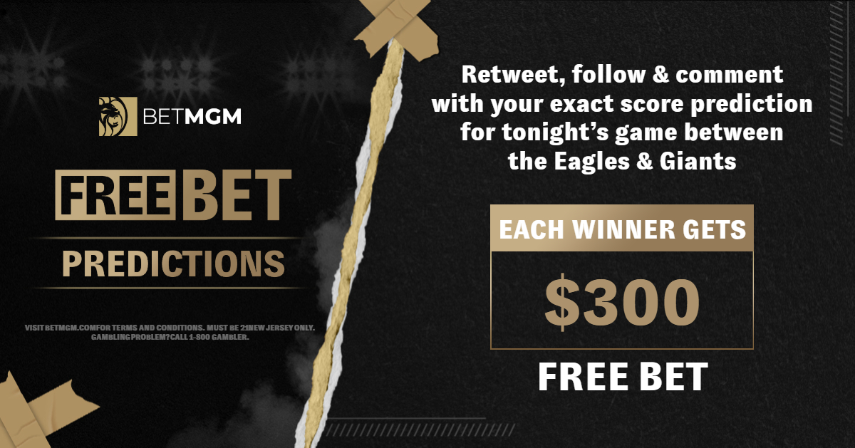 🚨 𝐅𝐑𝐄𝐄 𝐁𝐄𝐓 𝐏𝐑𝐄𝐃𝐈𝐂𝐓𝐈𝐎𝐍 🚨  Since no one guessed correctly in 2 tries, the Free Bet Prediction is now at $300! Comment with your exact score for tonight's game between the Giants  & Eagles!  -RT & Follow -Comment Exact Score -One entry per person -T&Cs apply