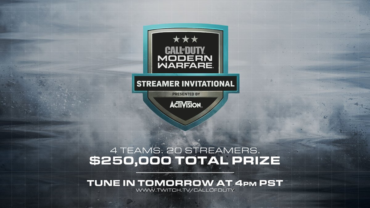 ✅ 4 Teams 🎮 20 Streamers 💰 $250,000 Prize Pool Tune in tomorrow at 4 PM PST to Twitch.TV/CallofDuty.