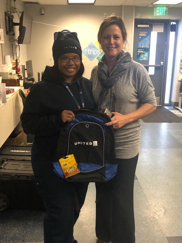 Perfect Attendance winner for November DTW, Sivhan Washington 🤑 Thank you for being so dependable! Enjoy your United backpack and the $50 for the holidays 🤶⁦@weareunited⁩ ⁦@barkleyscotty⁩