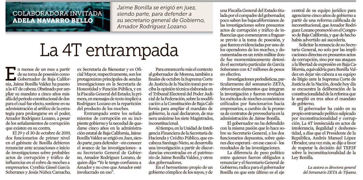 Claro, preciso y en punto este editorial de @adelanavarro Así es la flecha letal que somete al embuste, la corrupción y a la soberbia de un político a la sombra del Caudillo. #CalafiaVive #AmazonaDelPeriodismoBC