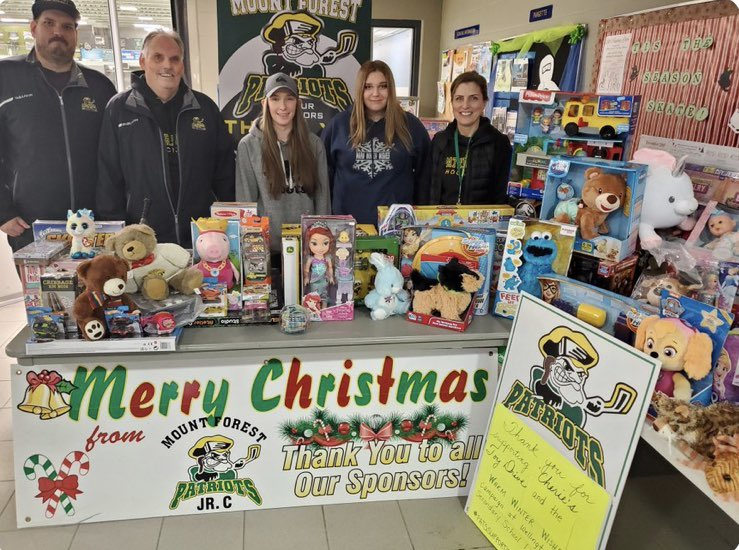 We would like to give a huge thank you to the Mount Forest Patriots for running a toy drive for us this past weekend! #patsnation #warmwinterwishes2019<br>http://pic.twitter.com/GC2wesmcB8