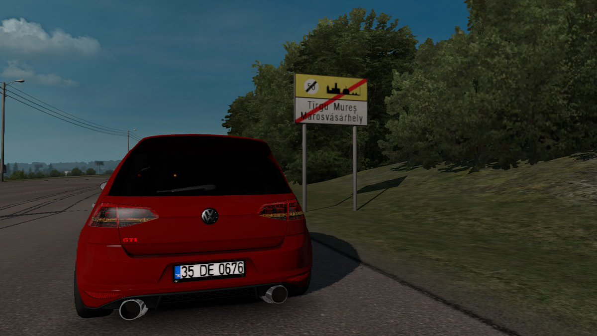 On the road again from Târgu Mureș to Bacău. Driving the car of the Malboro company, there's been a small urgency that needed an agile car to get there. Volkswagen Golf 7. Drive safe! #RoadtotheBlackSea #volkswagengolf7 #ETS2 #Bacău @SCSsoftwarepic.twitter.com/5A4nUSRyvC
