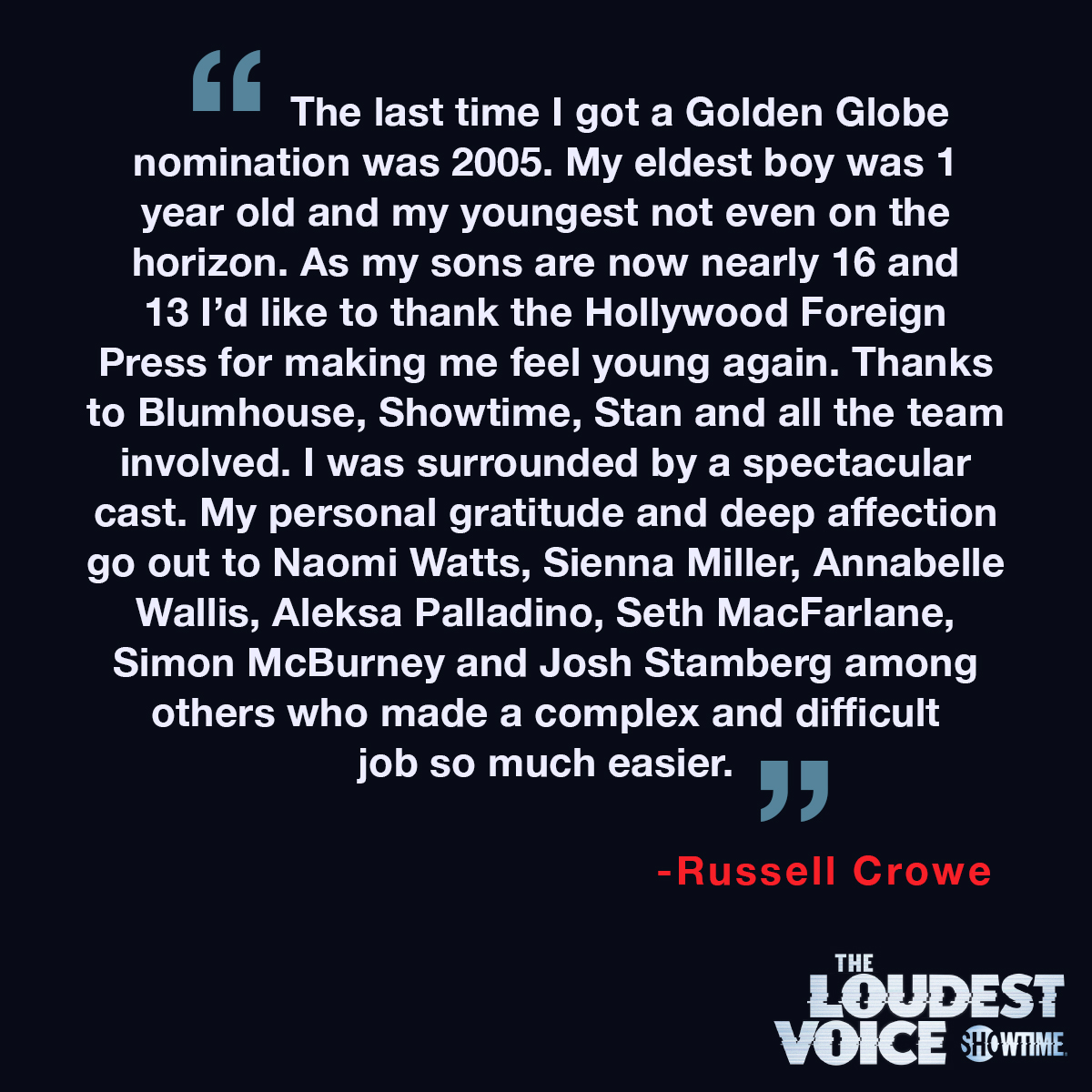 A statement from @russellcrowe on his #GoldenGlobes nomination for #TheLoudestVoice: https://t.co/LPMYmZN8xD