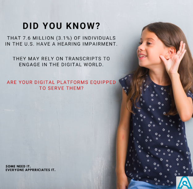When is the last time that you had your business platforms audited for digital inclusivity?   Individuals with hearing impairments are a demographic that may require access to transcripts in order to engage properly in the digital space.    #specialneeds #digitalacessibility<br>http://pic.twitter.com/WiHcn4Sacy
