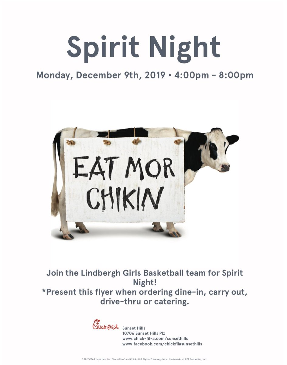 Chick-fil-A Night! See you there 4-8pm.