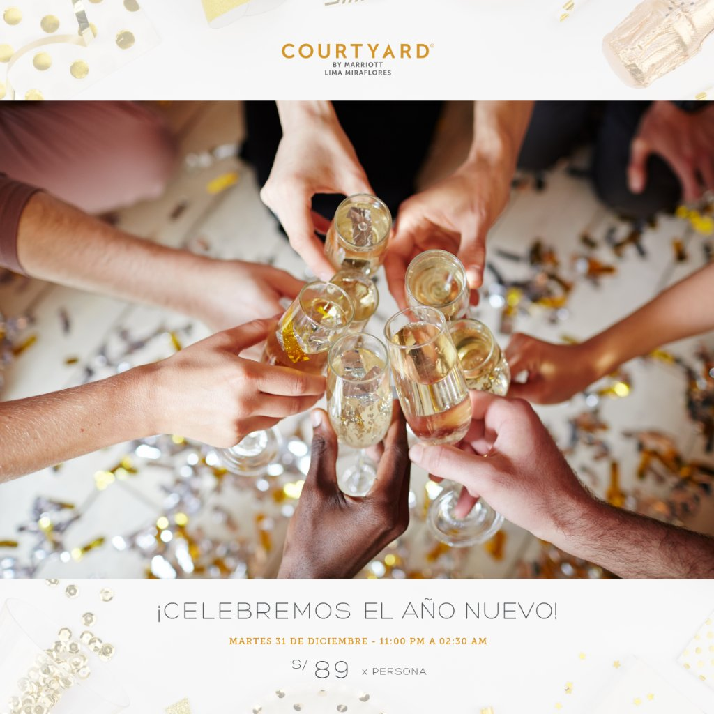 ¡Celebremos el año nuevo 2020 en el #CourtyardMiraflores! 📆 Martes 31 de diciembre ⏰ 11:00 pm a 2:30 am 💲 S/89.00 por persona 🥂 Incluye DJ, pista de baile, cotillón, chilcanos ilimitados  📩 Realiza tu reserva: (01)625-3838 / cy.bistro400@courtyard.com https://t.co/wxxztkqnfh