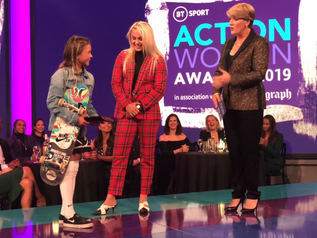 The wonderful Sky Brown winner of the @btsport #ActionWomen Rising Star Award https://t.co/IgRYHCqjwi