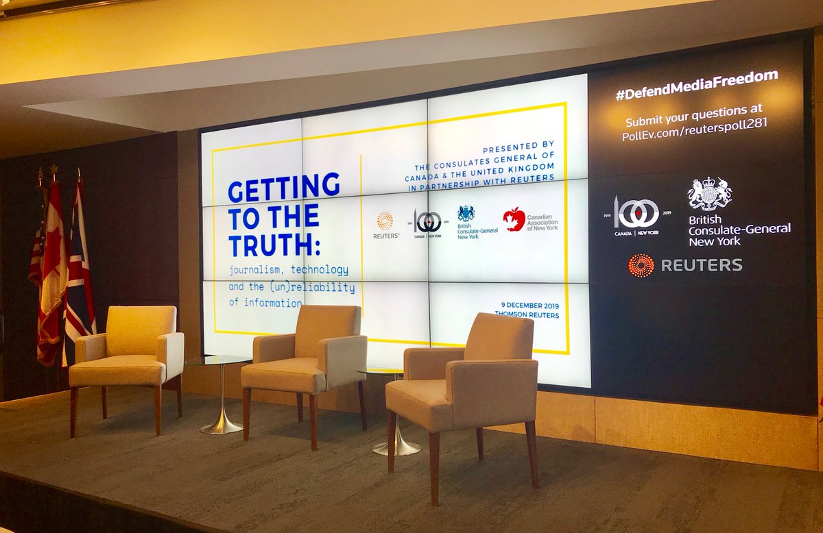 Excited to be @Reuters in @TimesSquareNYC to continue the conversation from the Global Conference for Media Freedom w/ @CanadaFP & @foreignoffice. #DefendMediaFreedom 🇨🇦🇬🇧 Stay tuned for Getting to the Truth: journalism, technology & the (un)reliability of information.