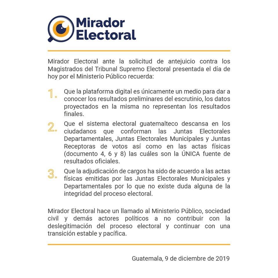 test Twitter Media - Mirador Electoral se pronuncia tras la solicitud de antejuicio presentada por el Ministerio Público contra los magistrados del TSE. https://t.co/SJxlBxlDlH