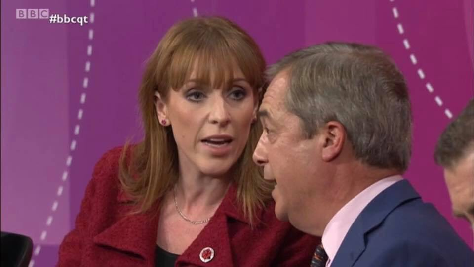 """Some people are saying """"l had a do"""" with Nigel Farage on #bbcqt tonight, but l just called him out on his dog whistle politics that's all, challenging him on his unacceptable views that so many people find deeply offensive #VoteLabourDec12 #GeneralElection19  #RealChange <br>http://pic.twitter.com/ABZVSFYU65"""