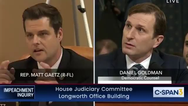 'Take Your Donor To Work Day': Matt Gaetz Rips Democrats For One-Sided Impeachment Hearing