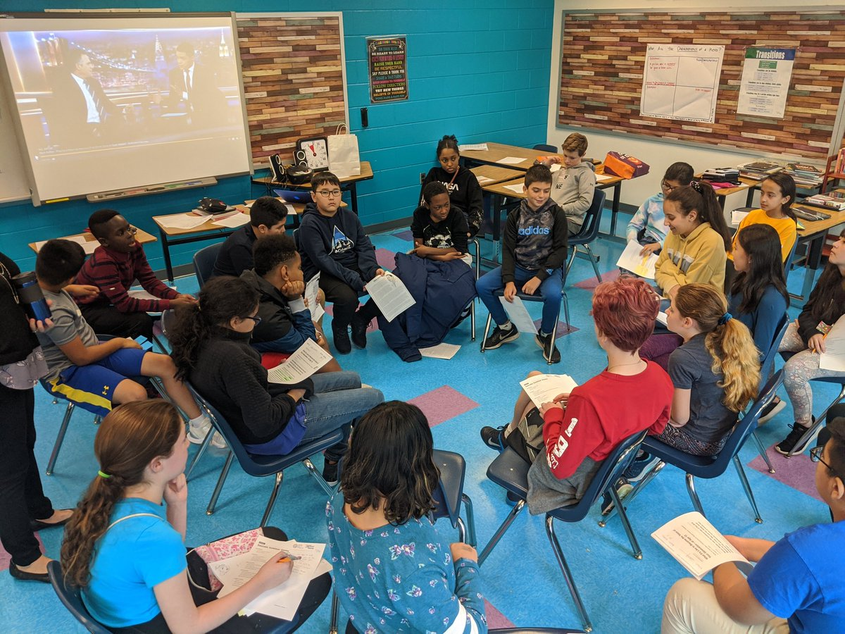 Last week, Ms. Rice's classes engaged in Socratic seminars about heroism and doing the