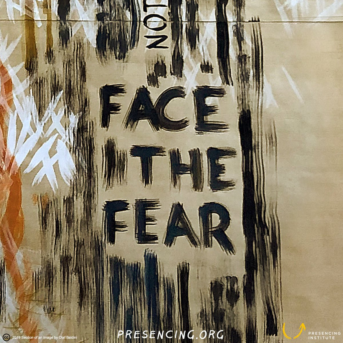 As uncomfortable as it might be, face the fear. bit.ly/35YD6j8 #decembercampaign #payitforward @presencing_inst Drawing: Olaf Baldini