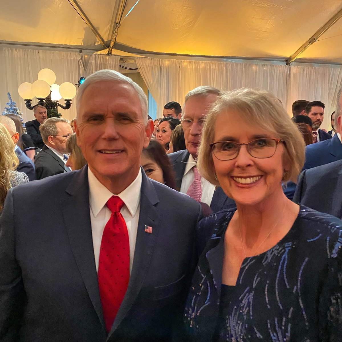 MRP Chair @kayhoflander  with Vice President @Mike_Pence  at the VP's Christmas Party.