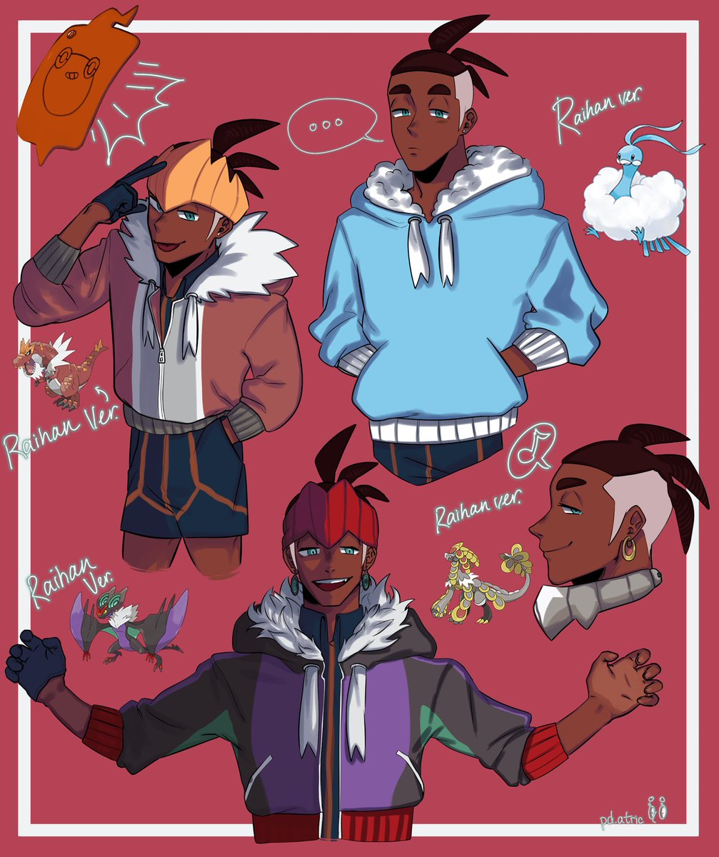 I put Mr. Raihan Sword and Shield Pokemon in a few hoodies based off of different dragon-type Pokémon because I Can <br>http://pic.twitter.com/txP3SEZ7dp