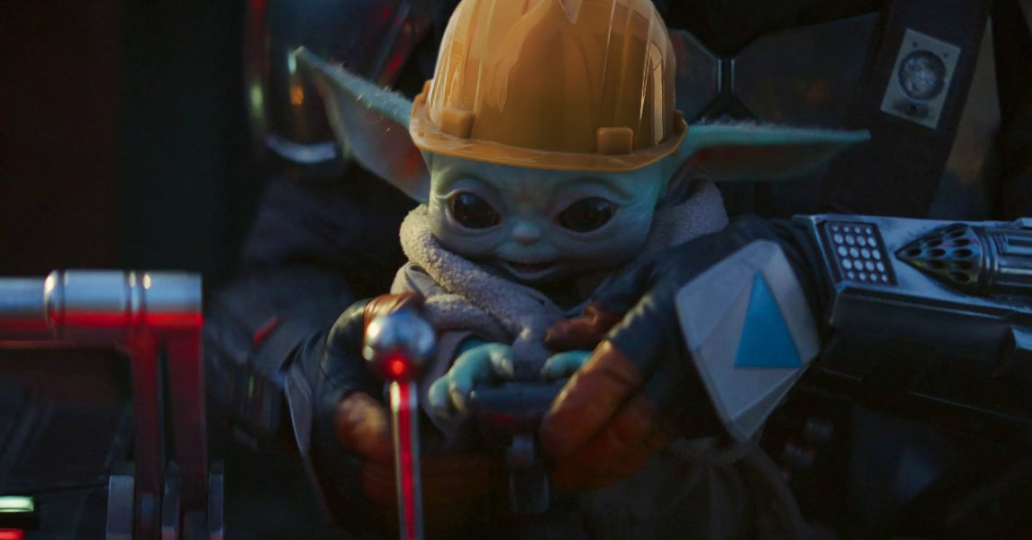 When you get to operate the crane for the first time #BabyYoda #Construction
