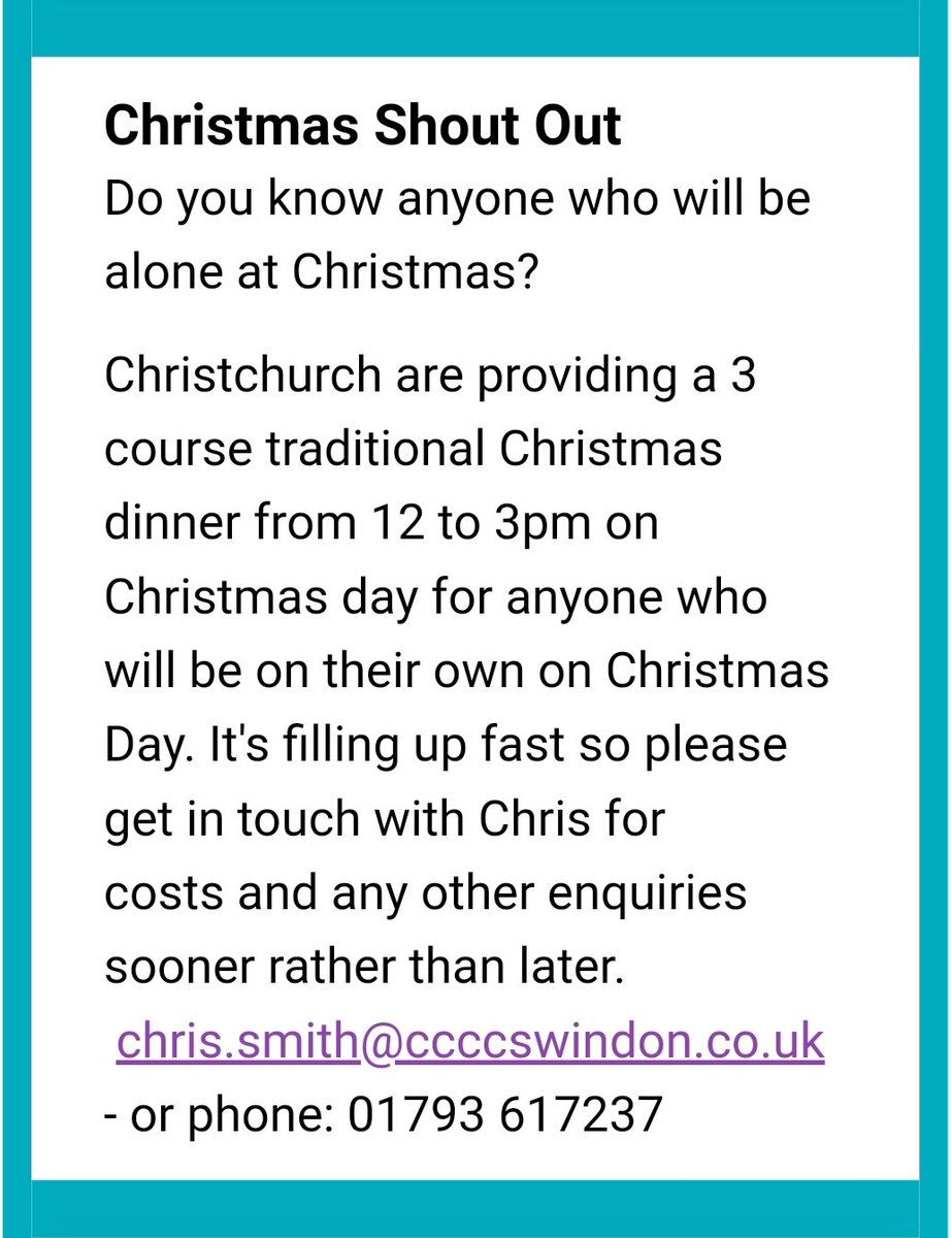#Swindonhour #WiltsHour Do you know anyone who is alone at Christmas & would like company?