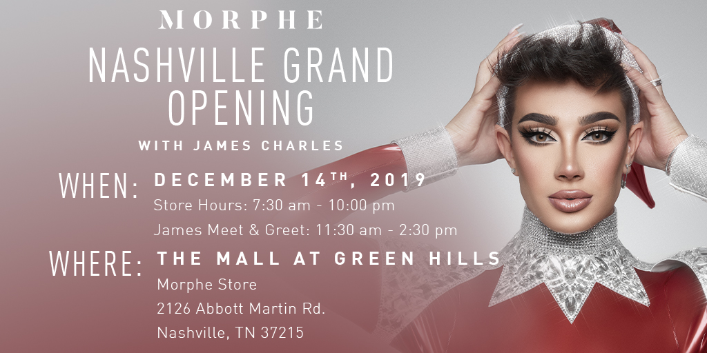 Nashville SISTERS! 👯♀️🌈 The one-and-only @jamescharles is makin' a VIP appearance this Saturday, at our Morphe store in @MallGreenHills, for our Grand Opening!! AND guess what?! 💓You could meet him!! We'll have a live DJ, prizes, + more! 😘🕺More info:  👈