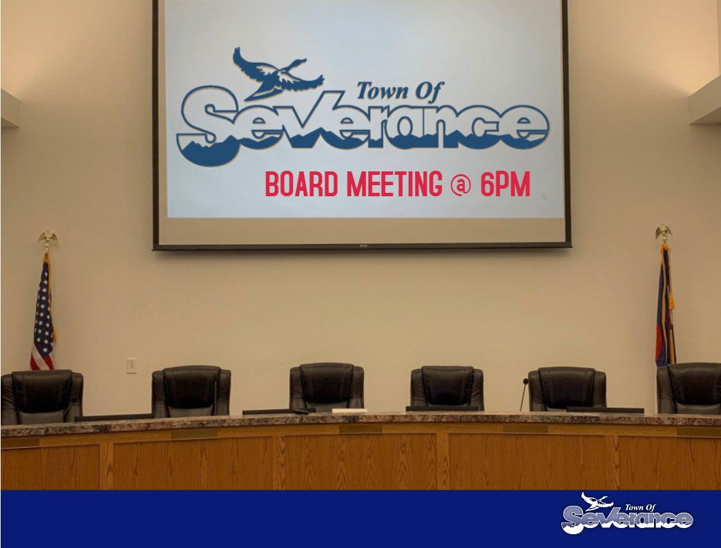 📺 Reminder: The Severance Town Board meets Tomorrow, December 10th, for a scheduled board meeting and work session at 6pm at Town Hall. #Severance #citizen #localgov #coloRADo #townhall  For more information, please go to: