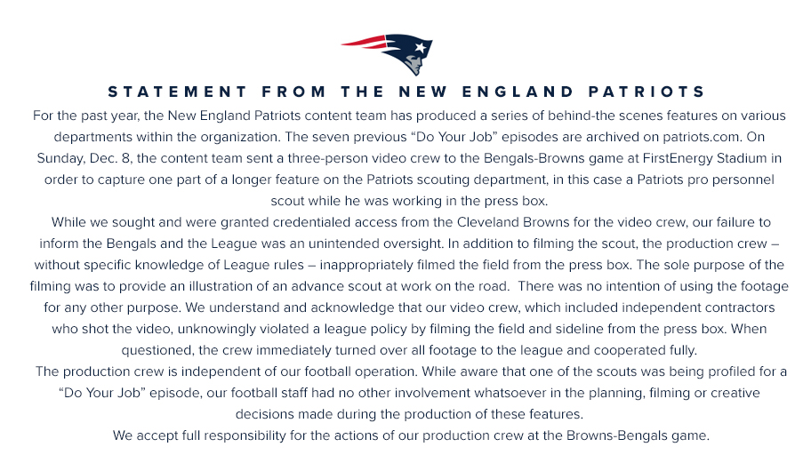 New England Patriots: Champions admit 'unknowingly' illegally filming Cincinnati Bengals game