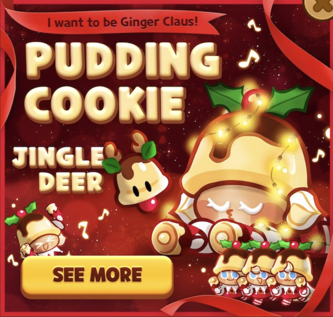 Cookie Run Updates Hiatus On Twitter Ovenbreak Pudding Cookie And Jingle Deer Are Here To Brighten The Cookie World This Christmas Obtain Ginger Claus Jr From Shop Gacha Or Package