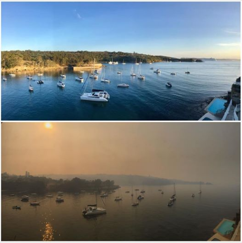 Whilst we're usually proud of being , it's all a bit close to home today - top shot for reference, bottom shot this morning. #littlemanly #NSWbushfirespic.twitter.com/L5mO6mxUqf