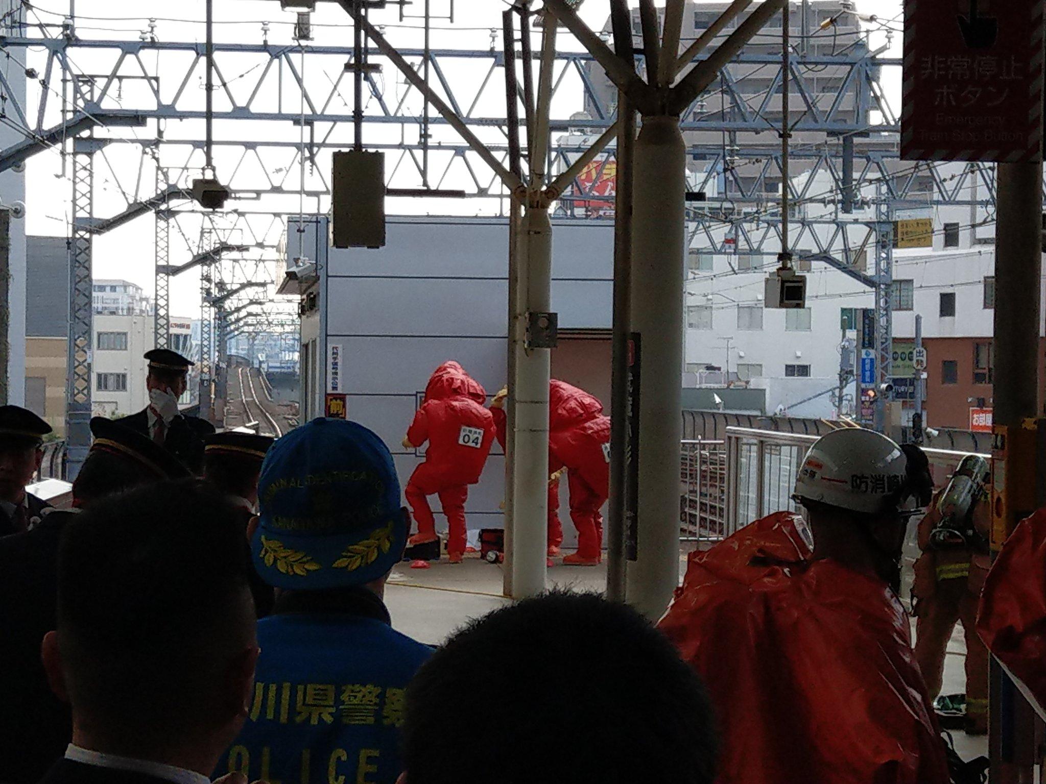 武蔵小杉駅のホームで不審物が見つかった現場の画像