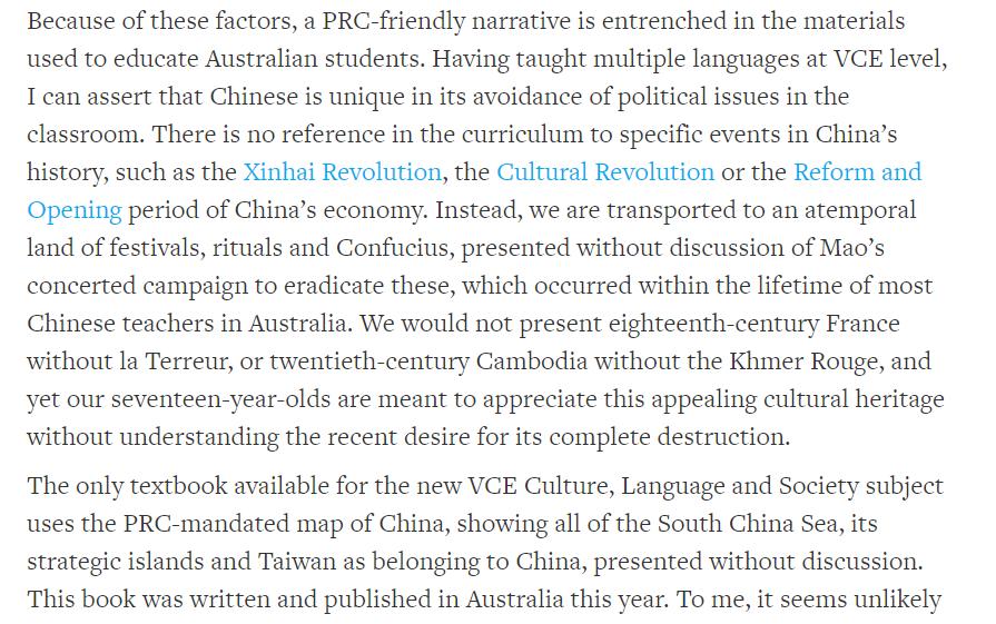 Interesting piece here from an Australian Chinese language teacher.   https://www. australianforeignaffairs.com/articles/next- voices/2019/12/minding-the-gaps/hugh-aliprandi  … <br>http://pic.twitter.com/Vy0rTUrbNg
