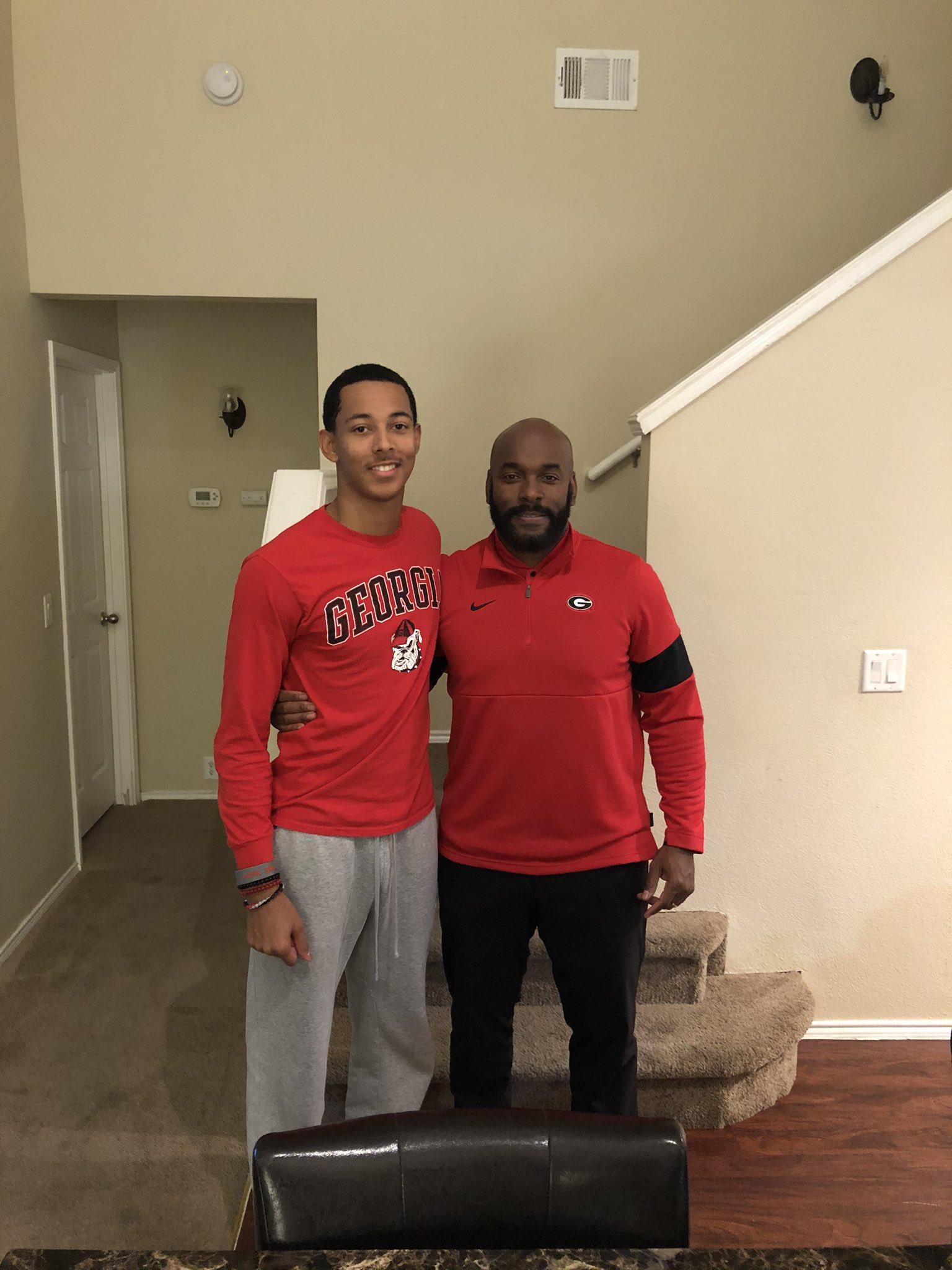 Photo: UGA assistant coach Charlton Warren visiting Jalen Kimber in-home in December of 2019, Jalen Kimber Twitter