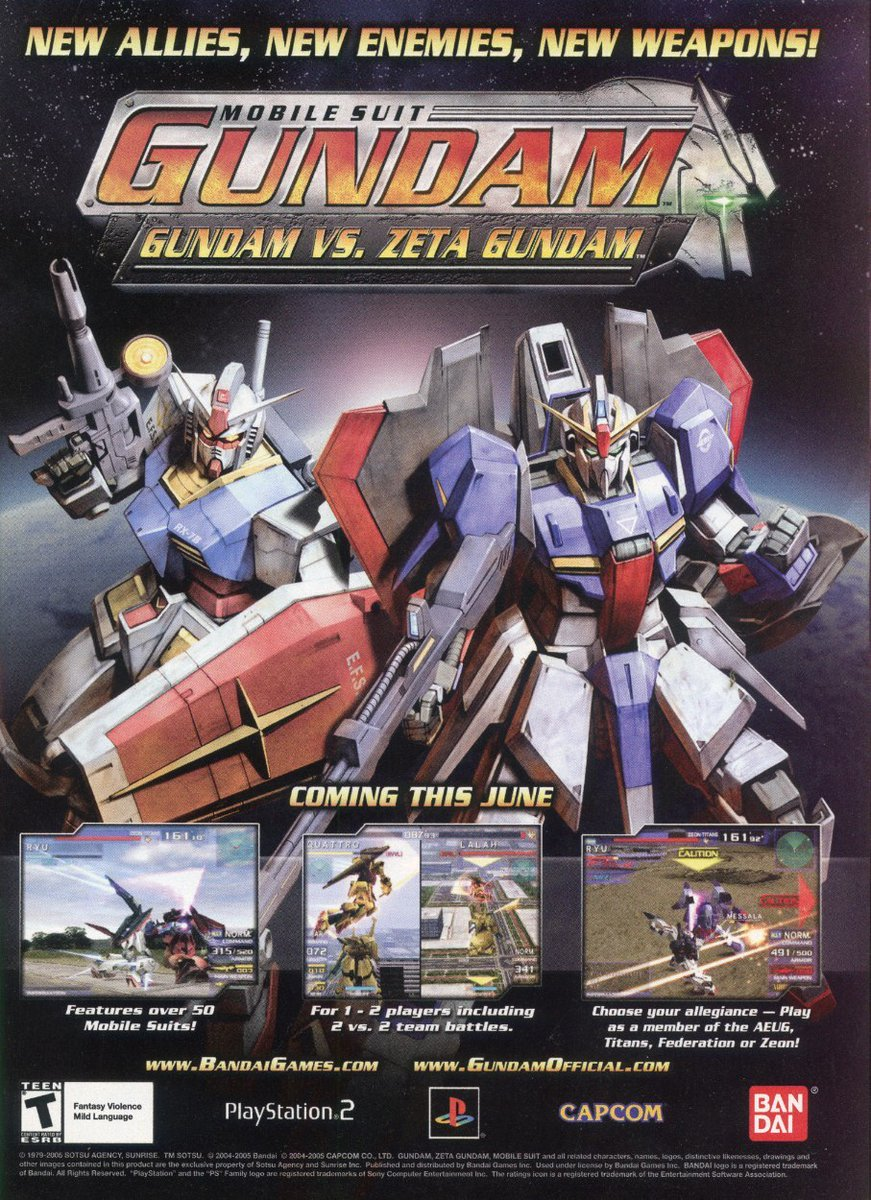 Happy 15th birthday to Mobile Suit Gundam: Gundam vs. Zeta Gundam!  An underrated Gundam game developed by Capcom, taking the engine of Gotcha Force and turning it into a solid combat game!  Released for PlayStation 2 & Nintendo GameCube. GameCube version released only in Japan.