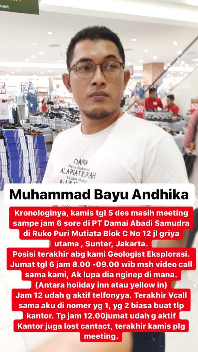 TWITTER, PLEASE DO YOUR MAGIC.Sepupu saya, Geologist berkantor di Jakarta, sudah 5 hari hilang tidak ada kabar. Mohon jika ada info bisa mengabarkan langsung ke sy atau kontak ke 081214450008 (dida)Cc:  @TMCPoldaMetro @DivHumas_Polri @infojakarta