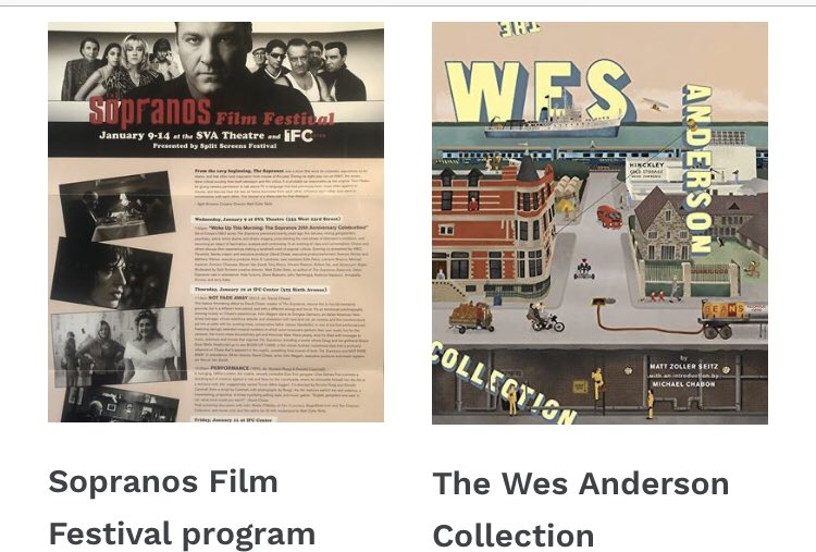 Complete catalog of everything available at the store: click the link & page through. Includes signed books I've written/co-written, anthologies I have contributed to, and some souvenir stuff, including the Sopranos Film Festival program.