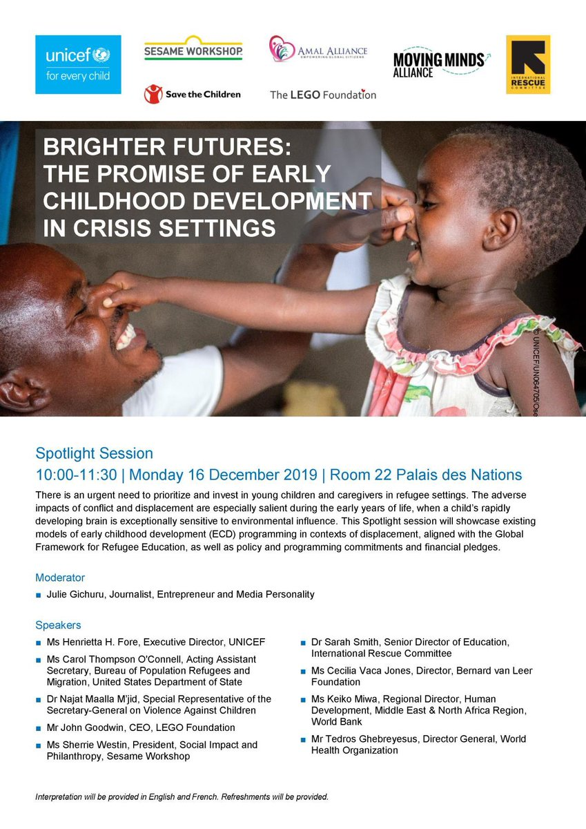 Why is #earlychildhood development important for refugee families with young children? Next week we'll be at the Global #RefugeeForum in Geneva to make the case for scaling up investment and support for the #youngestrefugees and those who care for them. Join us on Mon 16 Dec!