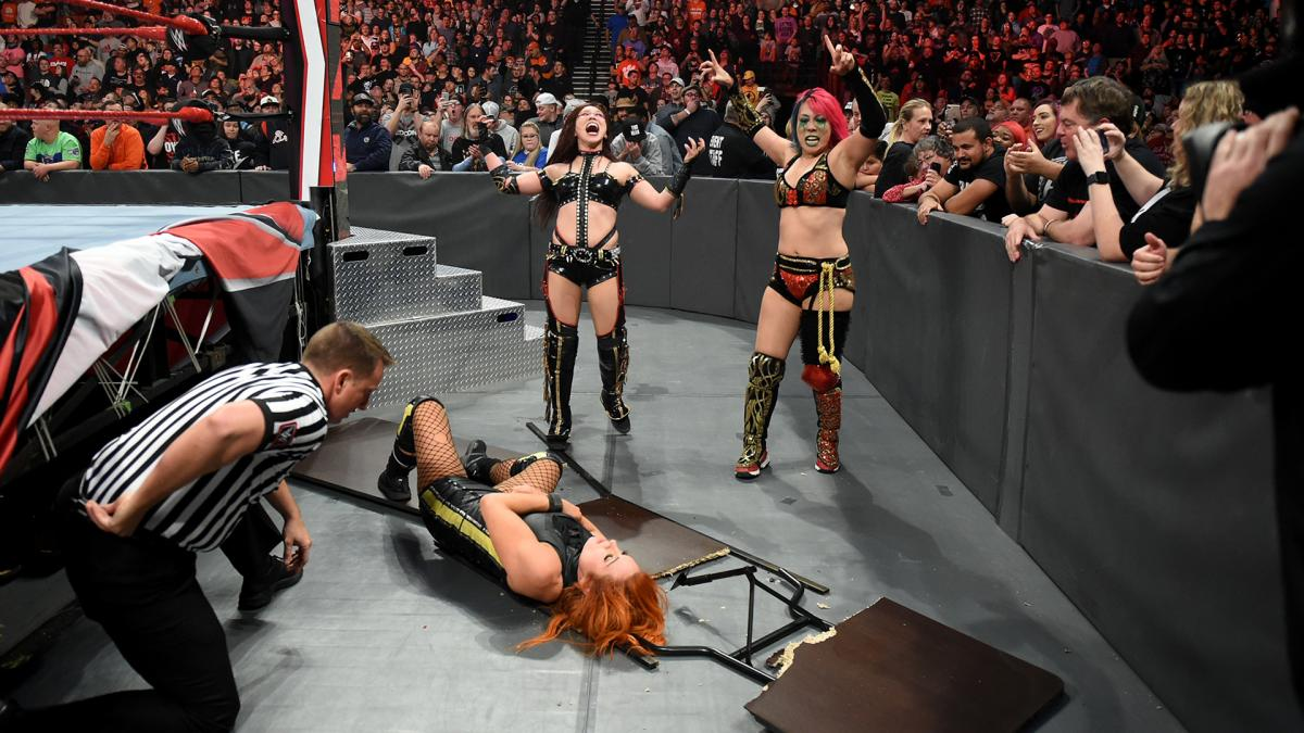 """#RAW: Raw #WomensChampion Becky Lynch defeated WWE Women's #TagTeamChampions The Kabuki Warriors in a handicap match by disqualification after Asuka attacked Lynch with a chair.After the match, Kairi Sane put Lynch through a table with an """"InSane Elbow."""""""
