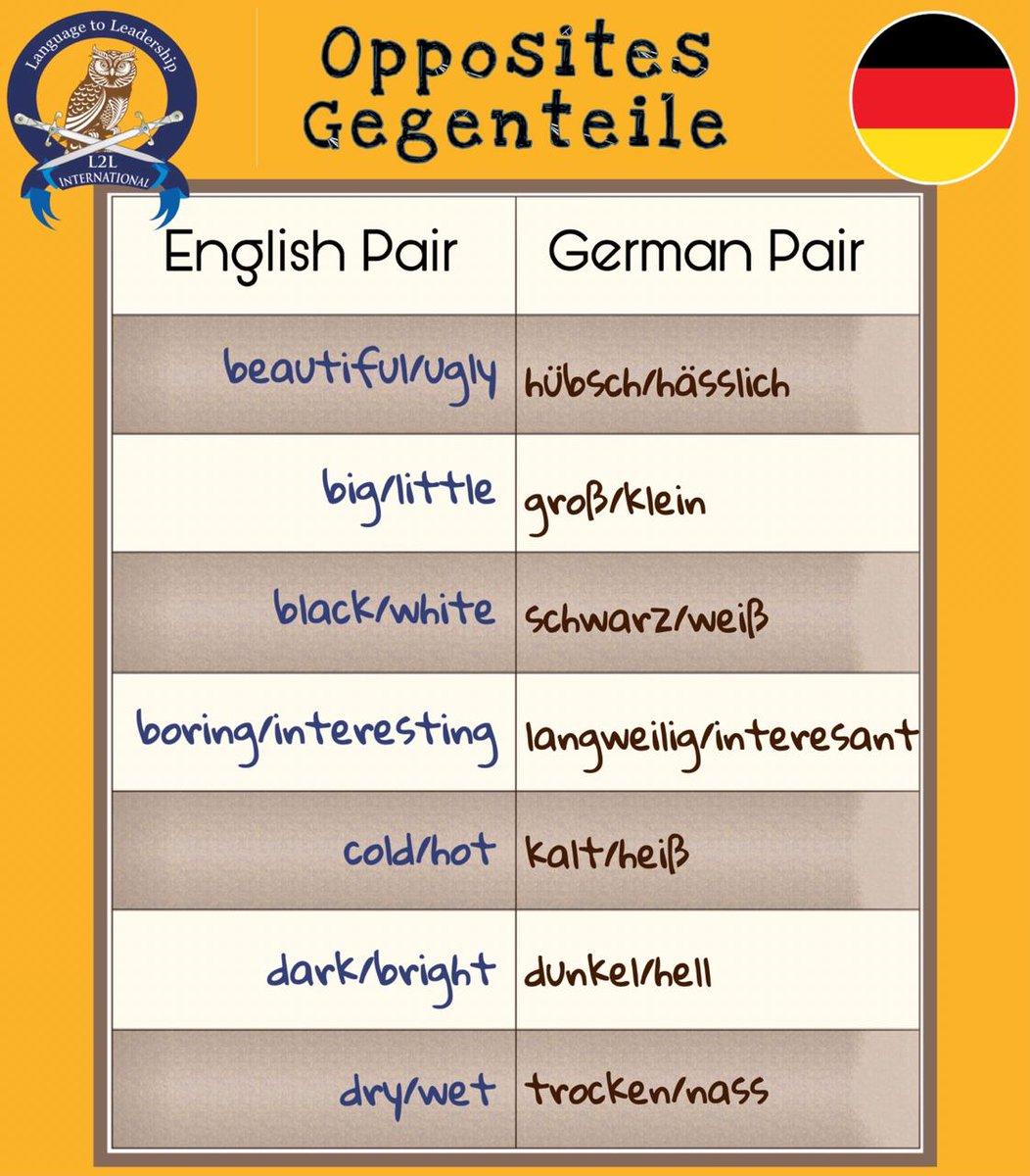 Opposites Gegenteile! English Pair, German Pair #german #germany #germanlanguage #learngerman #germanlearning #germantutorial #germancourse #germanclasses #l2l #l2linternational #germanclass  #germanverbs #germanvocabulary  #germanphrases  Know More...l2linternational.com/germanpic.twitter.com/VggSu17Ftc