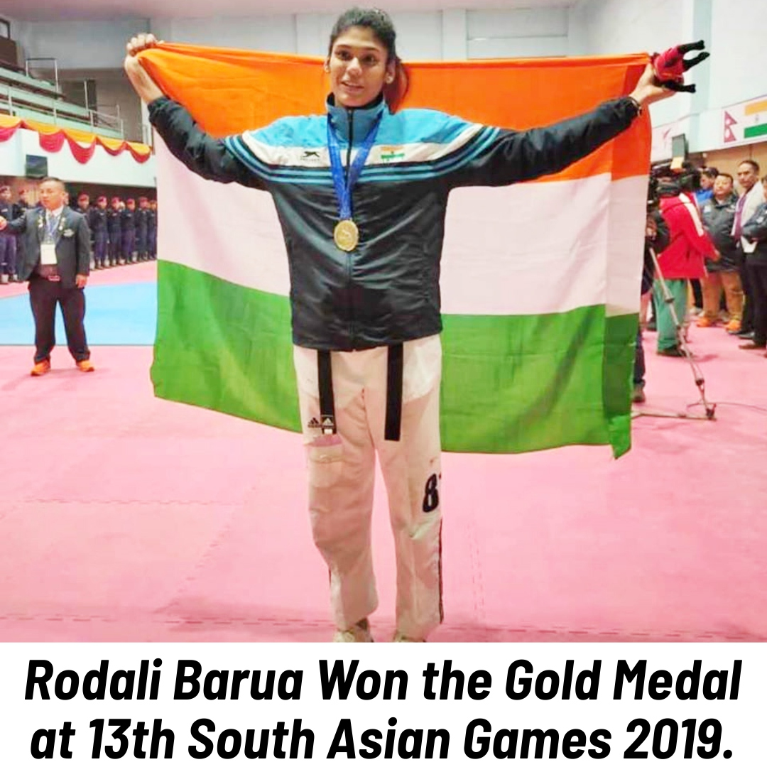 #Assam's young #athlete #RodaliBarua who represented the #Indian Kyorugi team, clinched a #goldmedal under 73 kg category at the ongoing #13thSouthAsianGames2019. Keep it up Girl!