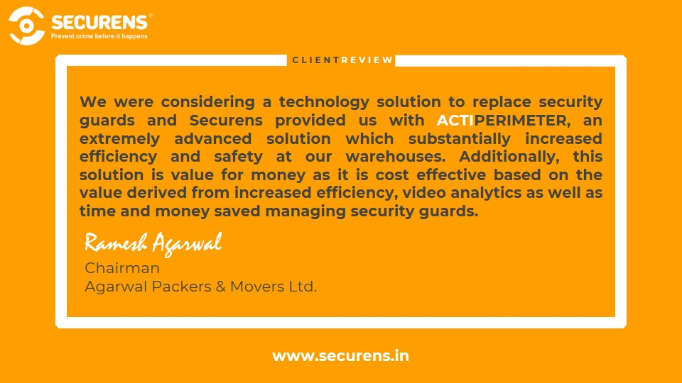 Client Review - Agarwal Packers And Movers Ltd. Thank you for trusting #Securens  #security #intrusiondetection #cctv #cctvcameras #perimetersecurity #safetyandsecurity #alarmsystems #securityofficers #securitysystems #videoanalytics #logistics #logisticsnews #warehousesafetypic.twitter.com/qzTnzLowhH