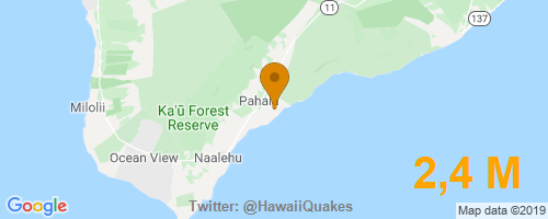 USGS reports: M2,4 Earthquake 4km ESE of Pahala, Hawaii, Depth 38,1 Km @ 2019-12-09 21:20:38 HST. More info:   #EarthQuake #Hawaii #Quake