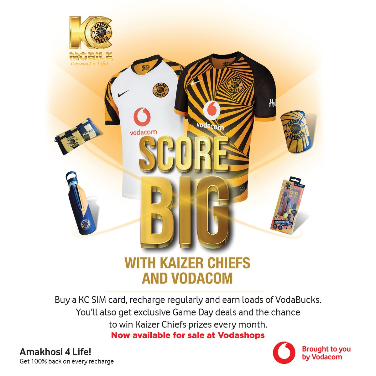 KC Mobile! Good News Khosi Family, you can now get your KC Mobile starter packs at Vodashops countrywide. Great game day deals and also you get a chance to win great prizes! #KCMobile #Connect4Life #Amakhosi4Life
