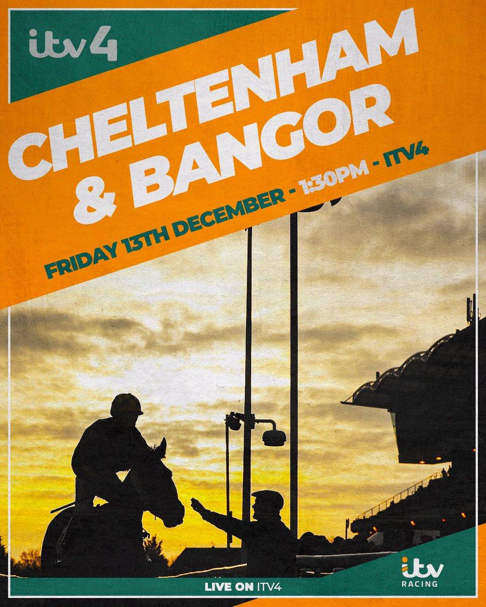 It's a big day on Friday...  There's LIVE racing from @CheltenhamRaces and @BangorRaces on @ITV4! 🙌  Join us from 1:30pm for all the action 🏇  https://t.co/yR1ccl809F https://t.co/t2oU3WJSTV