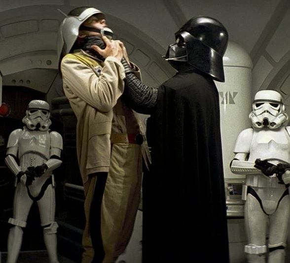 A good friend of mine is a senior pilot on a blockade runner. He has confirmed that Lord Vader is in fact assisting this rebel to remove a piece of toast that had become lodged in his windpipe & that the 'choking' story is 100% fake. <br>http://pic.twitter.com/bB5kOtMsVh
