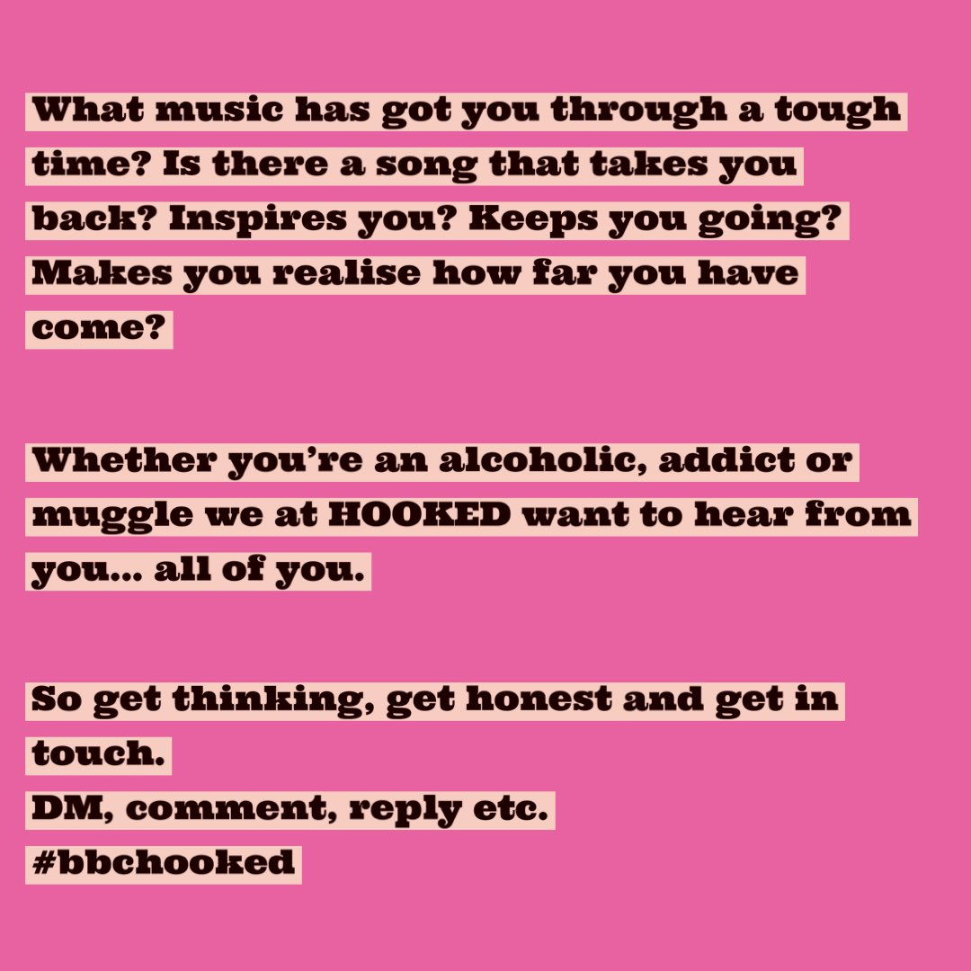 #BBCHooked needs your help... see below and please RT. Also, if you feel comfortable to share your song choice and reasons why more publicly...we would love to call you tomorrow to feature on our 'music is my therapy' section. RT away (please 😂) xxx