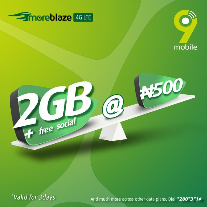 9Mobile Data Plan For 2020, 7GB For N1500, 2GB for N500