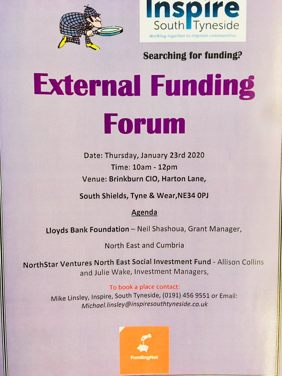 We are taking bookings for our next External Funding Forum Event @InspireSouth @LoveSTyneside