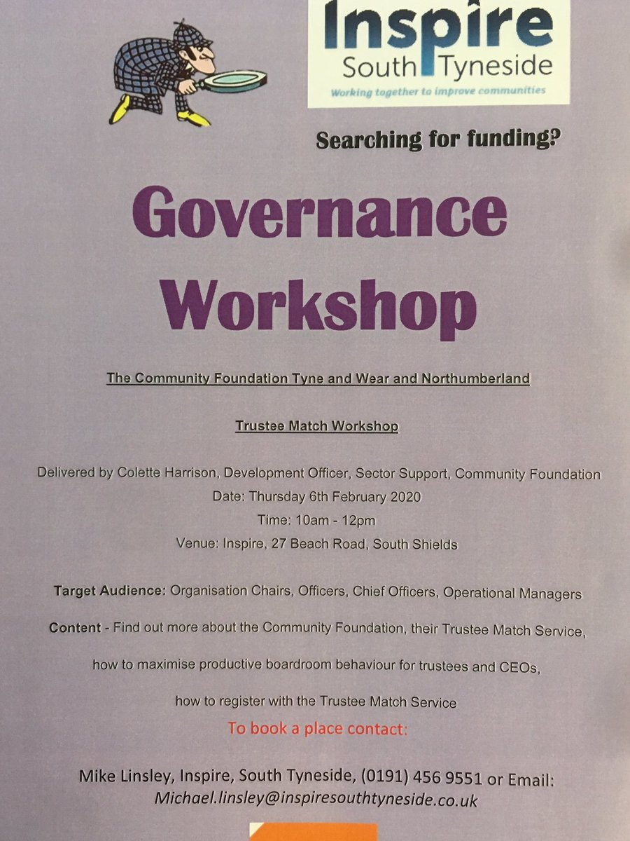 South Tyneside Organisation seeking trustees or interested in good governance? We are taking bookings now for our Trustee Match workshop