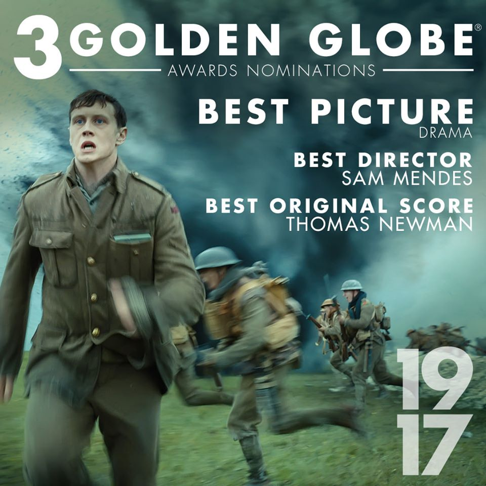 Sam Mendes #1917Film has been nominated for 3 #GoldenGlobes including Best Picture, Best Director, and Best Original Score.