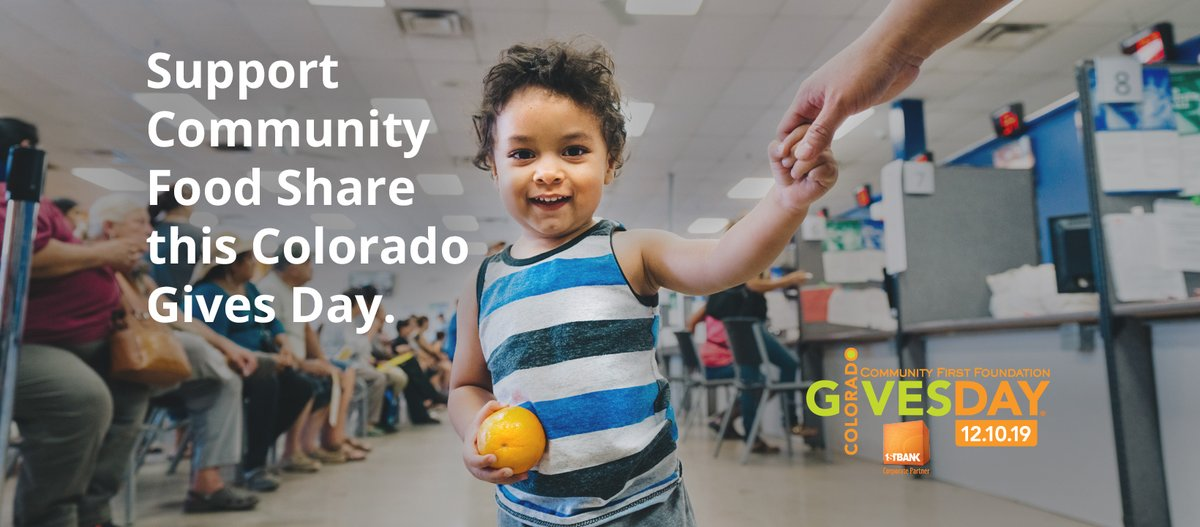 Today is #CoGivesDay: the day YOU show your love for Community Food Share! ❤ Help us raise 600,000 meals for local families today, so that we can #endhunger in our neighborhoods for good.Donate before 11:59 PM tonight to have your gift boosted: http://bitly.com/CGDCFS .