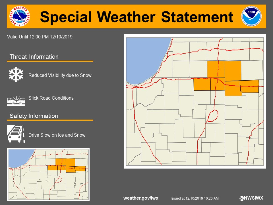 SPECIAL WEATHER STATEMENT...LAKE EFFECT SNOW SHOWERS CONTINUE THIS MORNING...graphic posted to