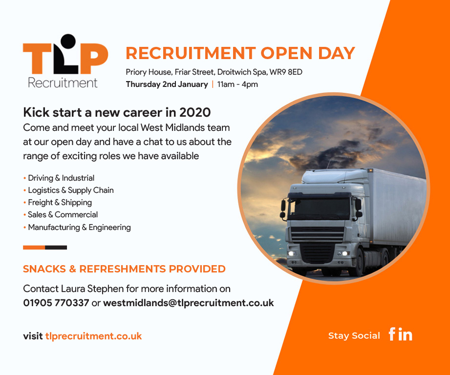 Calling all candidates local to the West Midlands area - we're holding an open day at our Droitwich branch for job seekers looking for a new challenge in 2020! Lots of job opportunities available for drivers and warehouse staff #newjob #logistics #supplychain #driving #industrial